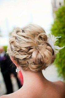 wedding photo -  Pretty Wedding Braided Updo Hairstyle with Feather Hair Comb