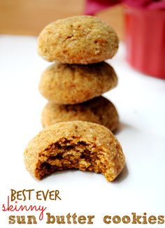 At only 73 calories per cookie and good-for-you ingredients, there's no shame in popping a couple of these skinny sun butter cookies! (Paleo ify these! Baking Recipes, Cookie Recipes, Dessert Recipes, Free Recipes, Apple And Peanut Butter, Healthy Baking, Eat Healthy, Healthy Meals, Sun Butter