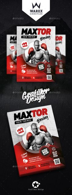 Boxing School Flyer Templates by grafilker Boxing Scholl Flyer Templates Fully layeredPSD300 Dpi, CMYKCompletely editable, print ready Text/Font or Color can be altered as n