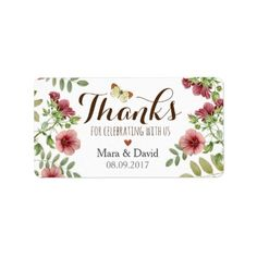 Vintage Floral Wedding. Thank you Label - rustic style country natural diy customize personalize