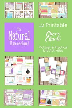 12 Printable Chore Charts Pictures and Practical Activities - The Natural Homeschool Shop Chore Chart For Toddlers, Charts For Kids, Chore Chart Pictures, Printable Chore Chart, Free Printables, Chore Cards, Toddler Chores, Montessori Materials, Kids Learning Activities