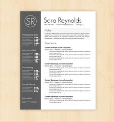 Resume Template / CV Template - The Sara Reynolds Resume Design - Instant Download