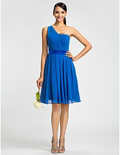 Bridesmaid Dress Knee Length Chiffon A Line Princess One Sho... – USD $ 59.99