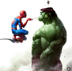 Superheroes Artworks That Make You Go Awww Spiderman vs Hulk - so that's why Spiderman was not included in the latest Avengers movie!Spiderman vs Hulk - so that's why Spiderman was not included in the latest Avengers movie! Marvel Dc Comics, Hero Marvel, Heros Comics, Bd Comics, Marvel Art, Ms Marvel, Anime Comics, Captain Marvel, Comic Book Characters