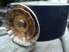 UpCycled Leather Cuff with Metal Hand Forge by Fun In The Small Things.