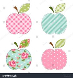 Find Fabric retro applique of cute apples with green leaf for scrap booking or invitation cards or party decoration Stock Images in HD and millions of other royalty-free stock photos, illustrations, and vectors in the Shutterstock collection. Baby Applique, Applique Fabric, Sewing Appliques, Machine Embroidery Applique, Applique Templates, Applique Patterns, Applique Designs, Quilt Patterns, Owl Templates