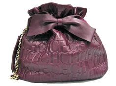 Purple leather Carolina Herrera purse $405.50 http://shop.newtoyou.net/collections/handbags/products/carolina-herrera-purple-leather-purse