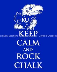 3b96a415 KU ~ Kansas University ~ Keep Calm and Rock Chalk Jayhawk Art Print: 11