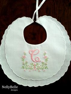 Monogrammed baby bib. White cotton/linen christening bib with monogram. NellyBelle Designs