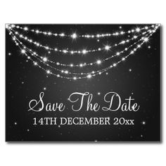 Save The Date announcements have gotten very creative in recent years, but the classic postcard will never go out of style. Elegant Save The Date Sparkling Chain Black Postcard
