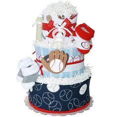 sports diaper cakes for boys | Baseball Sport Diaper Cake for a Boy