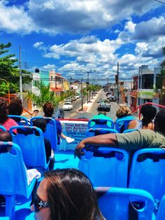 Ridding on top of a double decker bus in Progresso, Mexico