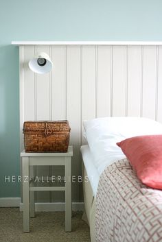 White timber bedhead