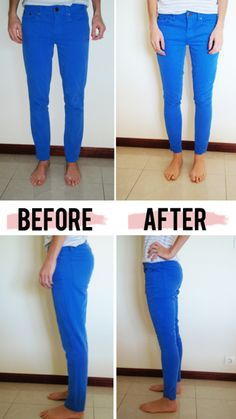 fix skinny jeans (or any jeans) that are too big. a good thing to know if you lose weight but don't want to splurge on tons of new jeans! Though I'm sure if I owned neon blue skinny jeans, I'd probably just splurge for new jeans. Look Fashion, Diy Fashion, Fashion Guide, Jeans Fashion, Learn To Sew, How To Make, How To Wear, Sewing Hacks, Sewing Projects
