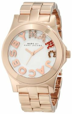 Marc by Marc Jacobs Rose Gold Rivera Logo Women's Watch's - MBM3138 Marc by Marc Jacobs. $190.30. Rose gold plated stainless steel. Rose gold plated stainless steel bracelet. White with three hand movement and the Marc by Marc Jacobs logo in diamante detail. Save 24% Off!
