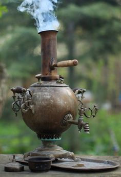 Russian Samovar, making tea, influence from Asia