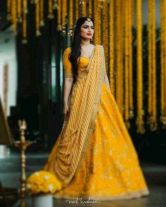 Looking for Stunning yellow mehendi lehenga with a patterned dupatta? Browse of latest bridal photos, lehenga & jewelry designs, decor ideas, etc. on WedMeGood Gallery. Indian Bridal Wear, Indian Wedding Outfits, Bridal Outfits, Indian Outfits, Indian Wear, Ethnic Outfits, Indian Clothes, Indian Weddings, Dress Indian Style