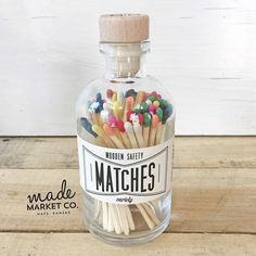 Variety Tip Colored Matches. Match Sticks Decorative Glass Bottle. Farmhouse Nordic Home Decor. Unique Gifts for her. Strike Bottle 70 count   -ALL IMAGES ARE PROPERTY OF MADE MARKET CO-  ---------------------------------------------------------------------- MATCHES DETAILS ---------------------------------------------------------------------- 70 Count 3.5 Matches 5.75 Bottle 2.5 Round Bottle Durable & High Quality Wood Top Cork. Tightly sealed for safety.   ------------------------------...