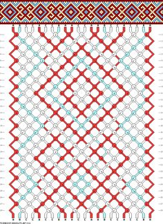 Friendship bracelet pattern - x, cross, diamonds, spiral, squares, border, belt, celtic - 22 strings - 3 colors