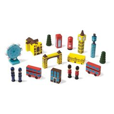 Kids aren't the only ones who will love this set. Give it to your favorite Anglophile and watch his or her eyes light up. 14 painted wood blocks include a double-decker bus, London Eye ferris wheel, Big Ben, a bobby, an iconic red phone booth, a beefeater, the London Bridge, and more. The set arrives in a drawstring bag. London Eye is 3½' tall. Ages 5 and up.