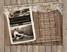 Burlap and Lace Wedding Invitation – Printable Rustic Wood Invite with Photo 5x7
