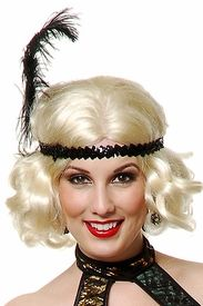 Adult Flapper Sequin and Feather Headband for Costumes, Sparkly Black Headpiece with Ostrich Feather
