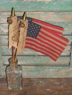 Primitive American Flag with stamped banner handmade by Prairie Primitives Folk Art.