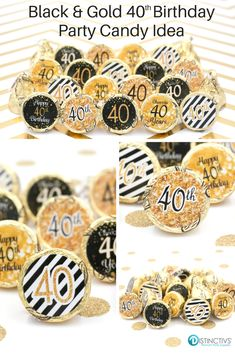 Celebrate this special birthday milestone with these gold and black 40th birthday party favor stickers that will be a sure hit at your party.
