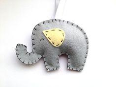Felt Elephant Ornament, Grey and Yellow Elephant Nursery Decor, Yellow and Gray Baby Decorations, Baby Shower Gift. $15.00, via Etsy.
