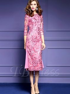 Chicloth Pink Embroidery Long Sleeve Lace Bodycon Dress - L / Pink Floral Midi Dress, Pink Dress, Lace Dress, Cheongsam Dress, Long Skirts For Women, Party Skirt, Western Dresses, Embroidery Dress, Day Dresses
