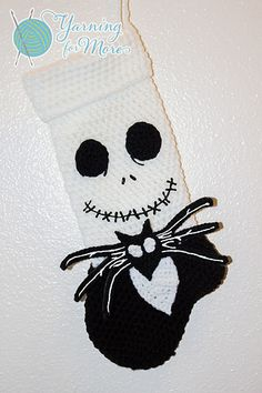 """This pattern is for the Jack Skellington features ONLY. The stocking is listed under the """"Hung By The Fire with Care"""" stocking in my store. There is also an ebook available of the Jack Skellington features WITH the stocking pattern."""