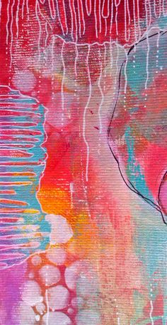 Guada`s art place: gelli print used as portrait background. Lover the additional markings on the bright background!