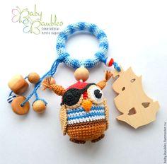 """Купить """"Сова - пират"""" грызунок-погремушка-слингоигрушка - грызунок, погремушка, деревянный грызунок, деревянные игрушки"""