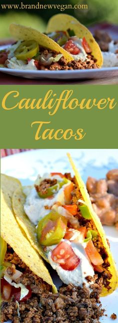 These Cauliflower Tacos will blow your mind they are so good. Trying to get your picky eaters to eat more veggies? They'll never know the difference !(Vegan Recipes To Try) Healthy Recipes, Veg Recipes, Mexican Food Recipes, Whole Food Recipes, Vegetarian Recipes, Cooking Recipes, Healthy Lunches, Detox Recipes, Copycat Recipes