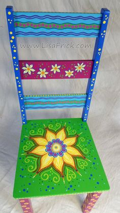 Painted Side Chairs by LisaFrick Whimsical Painted Furniture, Hand Painted Chairs, Painted Stools, Hand Painted Furniture, Painted Dressers, Painted Tables, Types Of Furniture, Funky Furniture, Upcycled Furniture