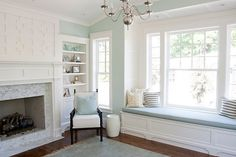 Pretty much what I want my living room to look like. Paint color: Palladian Blue by Benjamin Moore.