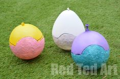 Tissue Paper Mache Easter Crafts instructions to make homemade flour paste to make hen and bunnies using balloons and tissue paper.