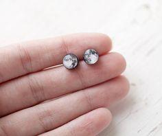 Full moon earring studs  Cyber monday etsy Black by BeautySpot, $12.75