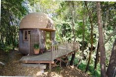 APTOS, CALIFORNIA: Stay in the mushroom dome cabin in Aptos, CA, sits beside a grove of redwood trees.