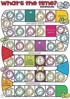 Whats The Time Boardgame Grade 3 Math Worksheets Math Lessons Math Board Games, Math Boards, English Games, English Activities, Teaching Time, Teaching Math, Math Resources, Math Activities, Verbo Can
