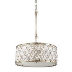 Amazon.com: Murray Feiss F2568/3BUS Lucia Collection 3-Light Pendant, Burnished Silver Finish with Beige Fabric Shade with Clear gems: Home Improvement