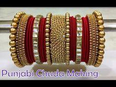 New Silk Thread Punjabi Chura Making At home Silk Thread Bangles Design, Silk Bangles, Gold Bangles Design, Bridal Bangles, Thread Jewellery, Bridal Jewelry, Beaded Bracelets, Gold Jewellery, Healing Bracelets