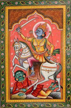 Kalki the Tenth Avatara (The Ten Incarnations of Lord Vishnu), Folk Art Watercolor on PattiArtist Rabi Behera Indian Traditional Paintings, Indian Art Paintings, Abstract Paintings, Oil Paintings, Phad Painting, Painting Art, Painting Tips, Watercolor Painting, Kalamkari Painting