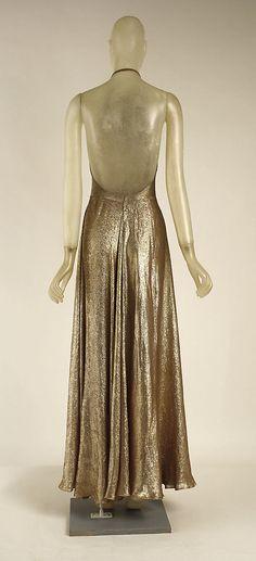 Vionnet Dress - back - 1939 - by Madeleine Vionnet (French, 1876-1975) - Cotton, metallic - The Metropolitan Museum of Art - @~ Mlle