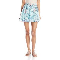 Lucca Couture Women's Floral-Printed Flare Skirt ($17) ❤ liked on Polyvore