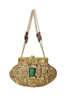 Shop elegant and luxury handbags including clutch bags by Meera Mahadevia. Styles include metal bags, crystal encrusted bags and embroidered bags in a Potli Bags, Indian Accessories, Metallic Bag, Embroidered Bag, Unique Bags, Cheap Bags, Vintage Purses, Womens Purses, Online Bags