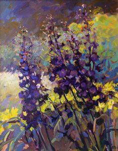 """Delphinum"" - by Catherine M. Architecture Art Design, Art For Art Sake, Art Techniques, Pastel, Landscape Art, Garden Art, Flower Art, Cool Art, Contemporary Art"