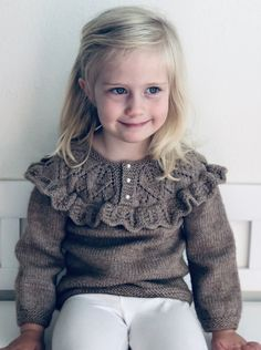 Ravelry: Theodora Sweater pattern by Anne Dresow Baby Sweater Knitting Pattern, Baby Knitting Patterns, Knitting For Kids, Crochet For Kids, Baby Sweaters, Girls Sweaters, Pull Bebe, Work Tops, Kids Outfits
