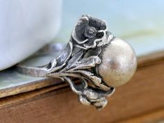 ROSE RING  vintage find sterling silver rose and by junesnight