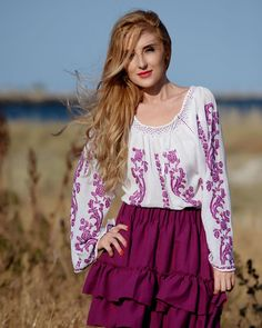 IE TRADITIONALA ROMANEASCA - Motivul Trandafirul Mov Floral Tops, Women, Fashion, Embroidery, Moda, Top Flowers, Fashion Styles, Fashion Illustrations, Woman